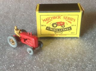 Vintage Matchbox Series 4 A Moko Lesney Product Tractor With Box