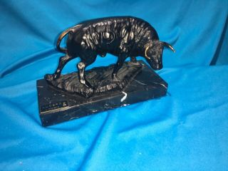 Spanish Artisan Bronze Bull Sculpture On Marble Base By L.  Moreno