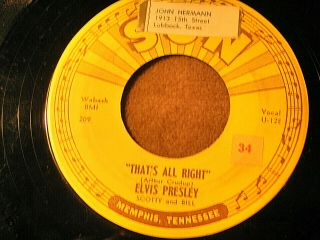 "Rare 1st Pressing Elvis Presley Sun 45 W/ Press Points "" That"