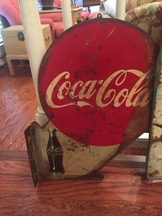 1940s Coca - Cola Double Sided Flange Sign