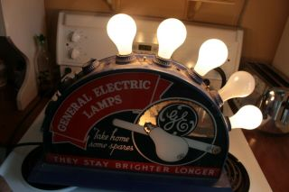 Vintage Rare General Electric Lamp Store Display Glass Metal Sign Advertising