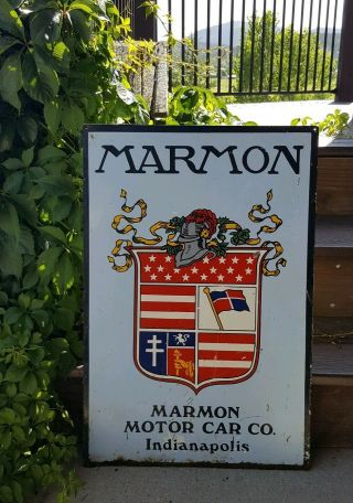 Vintage Marmon Car Porcelain Sign 1920