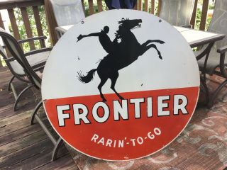 Large Frontier Gasoline Double Sided Porcelain Sign