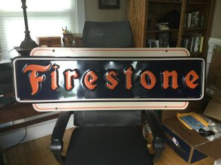 1947 Firestone Tire Embossed Metal Sign