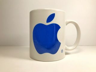 Vintage Apple Macintosh Mac Computers Logo Coffee Mug With Handle Blue White