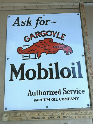 "Antique Porcelain Mobil Oil Gargoyle Advertising Sign Rare 19 "" X24 """