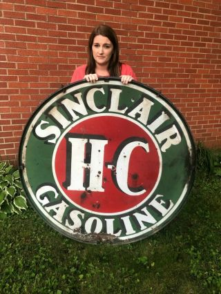 "Vintage 1930s Sinclair Gasoline 48"" Double Sided Porcelain Sign With Ring"