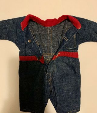 Composition BUDDY LEE Doll Rare Early Denim Jumpsuit Coveralls 1920s Vintage 10