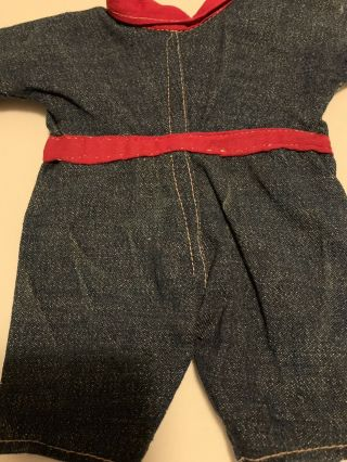 Composition BUDDY LEE Doll Rare Early Denim Jumpsuit Coveralls 1920s Vintage 12