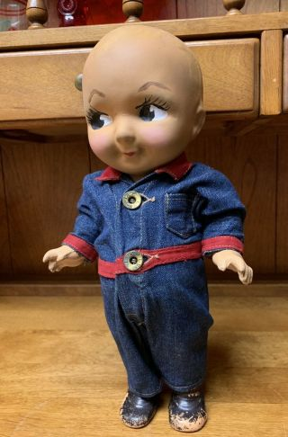 Composition Buddy Lee Doll Rare Early Denim Jumpsuit Coveralls 1920s Vintage