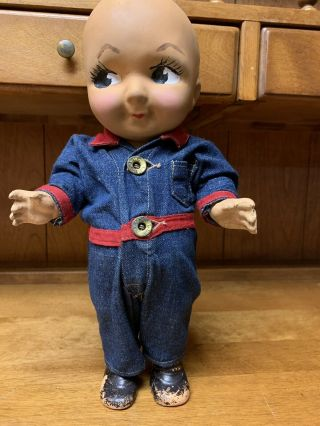 Composition BUDDY LEE Doll Rare Early Denim Jumpsuit Coveralls 1920s Vintage 2