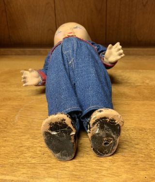 Composition BUDDY LEE Doll Rare Early Denim Jumpsuit Coveralls 1920s Vintage 5
