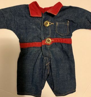 Composition BUDDY LEE Doll Rare Early Denim Jumpsuit Coveralls 1920s Vintage 9
