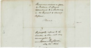 James Buchanan Autographed Letter Signed Signed In 1846