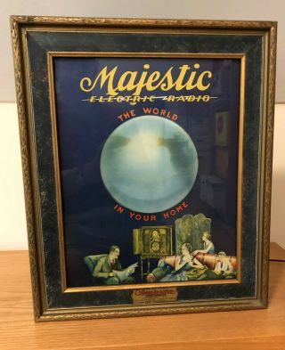 "Rare Ca 1929 "" Majestic Electric Radio "" Motion Lamp Adv.  Illum.  Sign"