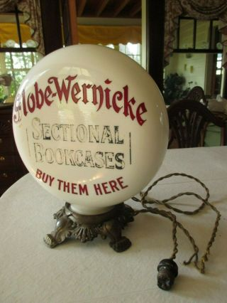 Antique Globe - Wernicke In - Store Advertising Display Lamp Globe W/ Base 1898 - 1905