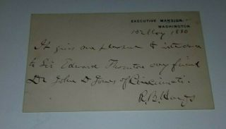 Rutherford B Hayes Signed White House Calling Card For Sir Edward Thornton.