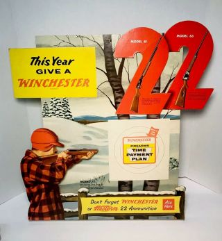 Rare 1956 Winchester 22 Time Payment Plan Store Die Cut 3d Easel Back Display