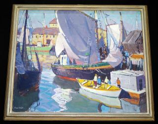 "1950s American Oil On Canvas Painting "" Harbor Scene "" By Carl William Peters (jos"
