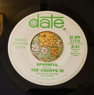Cool Garage Punk Promo 45 The Counts Iv Spoonful Date Hear
