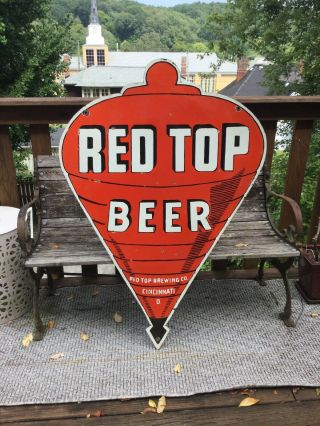 Large Vintage Red Top Beer Double Sided Porcelain Sign 48""