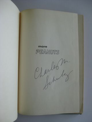 """Charles Schulz - Rare Autographed 1954 """" More Peanuts """" Hardcover Book - Snoopy"""