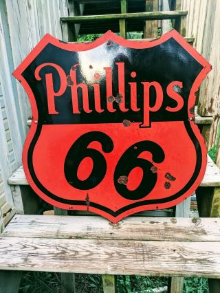 Vintage 1956 Double Sided Porcelain Phillips 66 Sign 30 Inch Gas Oil