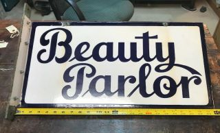 Double Sided Porcelain Beauty Parlor Sign & Bracket