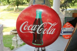 "Large Vintage 1958 Coca Cola Soda Pop Gas Station 36 "" Curved Button Sign"