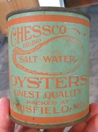 Vintage One Pint Oyster Tin Can Advertising Chessco Salt Water Crisfield Md
