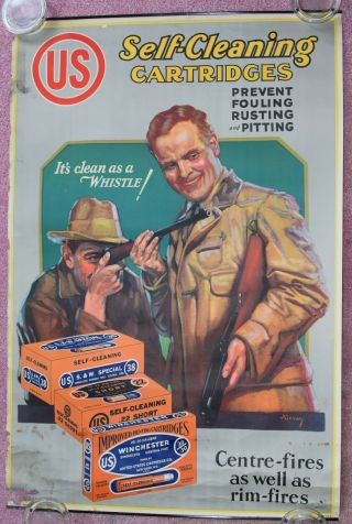 1930s Winchester Cartridge Advertising Poster United States Cartridge Company