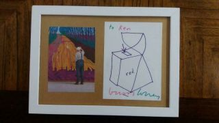 David Hockney Drawing Signed Autographed With Certificate Of Provenance