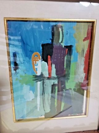 Vintage Colorful MCM Watercolor Male Abstract Signed Perez 2