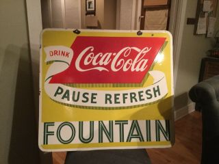 Old Double Sided Coca Cola Fountain Drink Sign