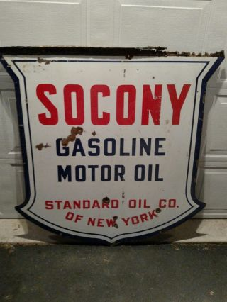 """Socony Porcelain Double Sided Sign 48 """" 1930"""