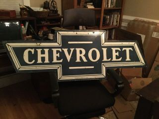 Large Chevrolet Bow Tie Double Sided Advertising Sign