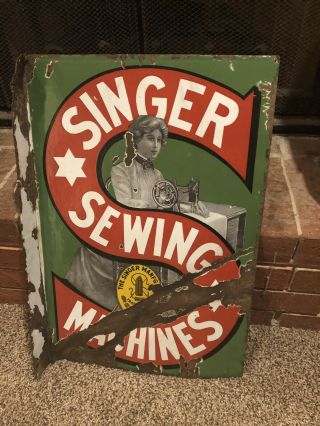 1920's Singer Sewing Machines Flange Double Sided Porcelain Sign
