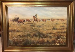 "Oil By Artist Robert Winter Entitled ""cattle Drive """