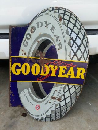 Goodyear Sign Porcelain Flange Gas & Oil - Guaranteed
