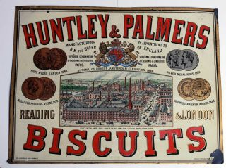 Huntley & Palmers Factory Image Enamel Tin Sign C1890s