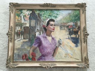 1950/60s French Impressionist Oil Painting Of Annabella In Paris By Pal Fried