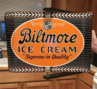 1964 Biltmore Estate Ice Cream Metal Spinner Sign W/frame Advertising
