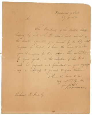James Monroe 1812 Signed Letter Appointing Barbary War Vet As Consul To Tripoli