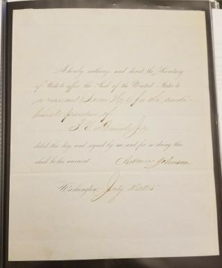 Andrew Johnson Signed Pardon Of Confederate Son Of A Us Supreme Court Justice.