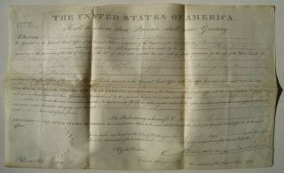 Old 1830 Springfield Il Land Grant Signed By President Andrew Jackson; Hayward