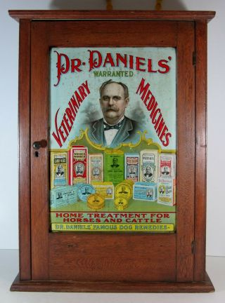 1890 Dr Daniels Veterinary Medicine Display Cabinet - Tin Litho Sign Front Panel