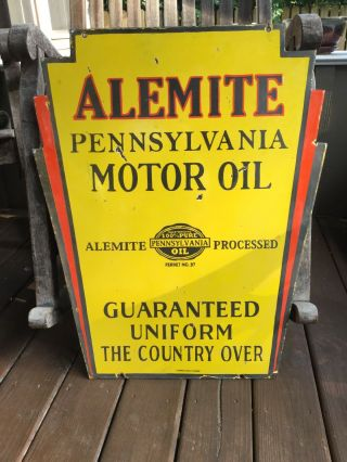 1930s Alemite Motor Oil Double Sided Porcelain Sign