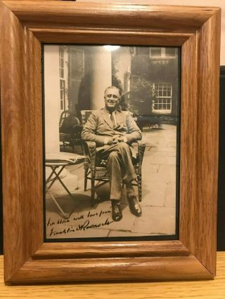 Franklin D.  Roosevelt Signed Autographed Picture With Frame