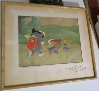 Orig Tom & Jerry Hanna Barbera Hand Painted Cel Cell From 1952 Two Mouseketeers
