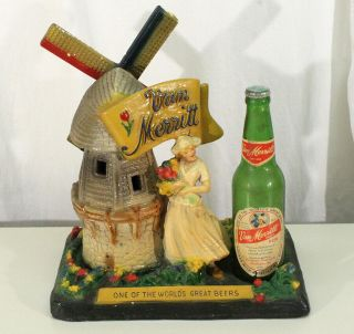 Van Merritt Motorized Windmill Chalk Motion Beer Sign Burlington,  Wisconsin Wisc